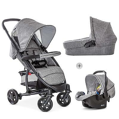 Hauck Malibu 4 Trio Travel System Pushchair Pram Carseat Melange/Grey+Raincover