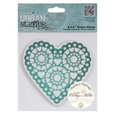 "Papermania 'Vintage Notes' 'Heart' 5""x5"" Urban Cling Stamp *Free UK P+P*"