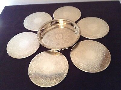 Set Of 6 Strachan EPNS Dinner Plate Coasters And bonus tray