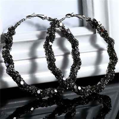 Black Bling Big Large Circle Loop Hoop Round Earring Woman Charm Jewelry Z