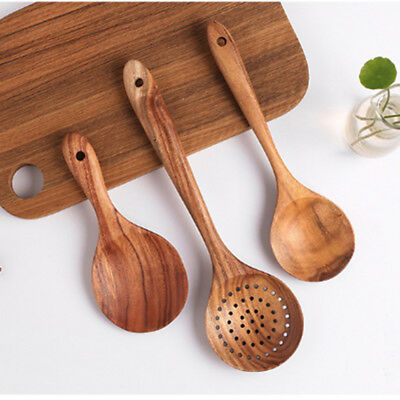 Wooden Spoons Utensil Set Kitchen Cooking Bamboo Tools Wood Spatula Z