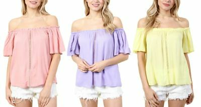 Fashion House La Women's Off Shoulder Short Sleeve Top With Knit Design Center
