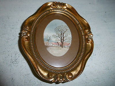 Vintage embroidered picture cottages framed very good condition