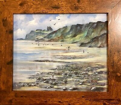ORIGINAL ACRYLIC PAINTING ON BOARD - WHITBY from SANDSEND. FRAMED AND SIGNED.