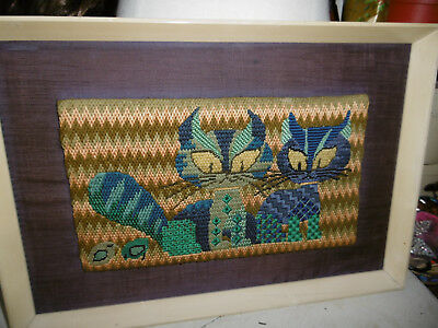 Vintage needlepoint tapestry kitsch cats completed framed