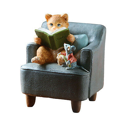 """Cat Reading Book to Mouse Sculpture Home Decor Figurine - 3 1/2"""" Hand Painted"""
