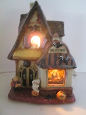 "Halloween Haunted House Night Light Tabletop Ghost Goblins Pumpkins 6.5"" tall"