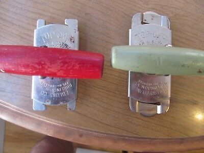 2 Vintage Edlund Top Off Jar and Bottle  opener Wood Handle Red and Green