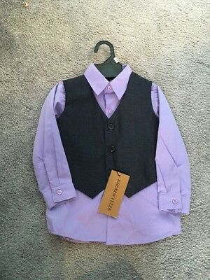 Boys Size 24 Months Purple Dress Shirt &  Black Vest