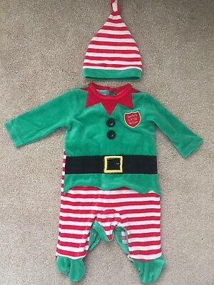 Christmas Elf, Santas Little Helper Babygrow and Hat, Xmas Babygrow 3-6 Months