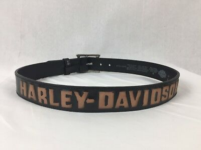 Harley Davidson Leather Belt Sz 34 Black 97721-10VM