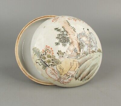 Chinese Exquisite Hand-Painted Old man Child flowers pattern porcelain box