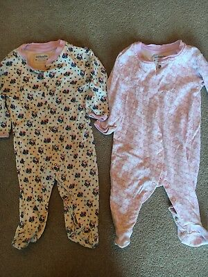 jojo maman bebe girls 3-6 months Sleep Suits X 2