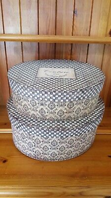 2 Vintage Style 'Couture 1842' Oval Hat Storage Boxes With Lids: Brand New