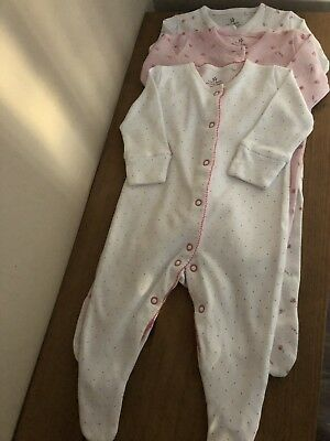 next baby girl 0-3 sleepsuits X3