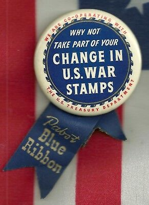 Pabst BEER Pinback Button Pin Advertising WWII HOMEFRONT Ribbon WAR STAMPS