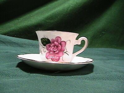 Antique vintage  Royal Dover Bone China Tea Cup and Saucer roses