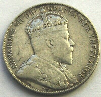 1904H Fifty Cents Newfoundland Silver Coins Edward Vii