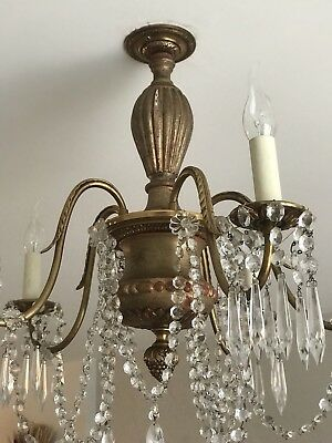 antique french crystal Wood And Brass chandelier