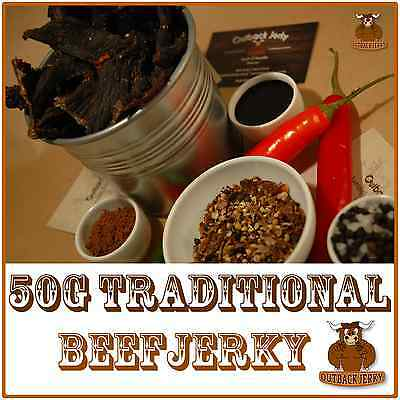 BEEF JERKY TRADITIONAL 50G Hi PROTEIN LOW CARBOHYDRATE PRESERVATIVE FREE SNACK