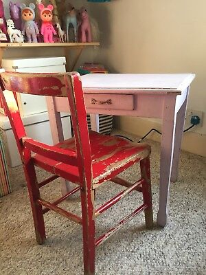 Vintage French Child's Desk And Chair