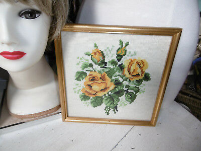 Vintage completed needlepoint tapestry picture roses framed very good condition