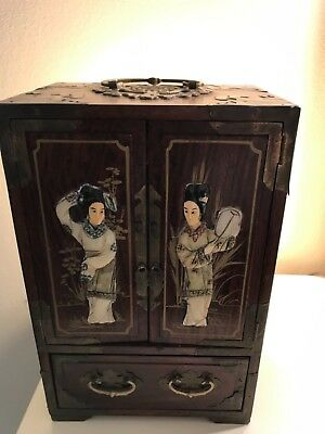 Vintage Wood Oriental Asian Jewelry Box Brass Accents Drawers