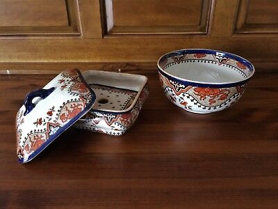 Antique Royal Crown Derby Butter Dish with Ice Tray & Serving Bowl A710
