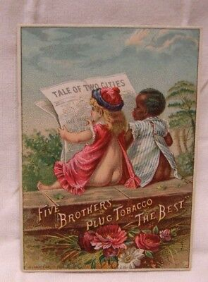 1890's Five Brothers Plug Tobacco Black Americana Trade Card