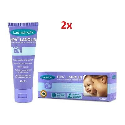 2x Lansinoh HPA Lanolin Nipple Cream 40ml -  Sore Nipples & Cracked Skin