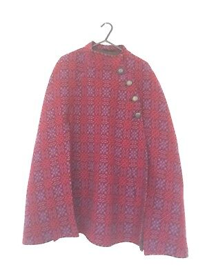 60's 70's vintage Welsh Wool tapestry Cloak Cape Small