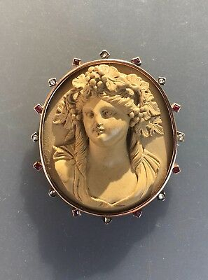Antique victorian carved lava cameo brooch