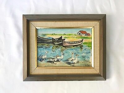 Vintage Oil On Board Original Painting Of Geese and Boats, Framed