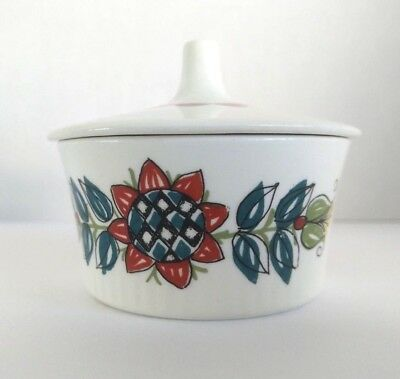 Figgjo Flint Saga Sugar Bowl Ceramic Handpainted Silkscreen with Lid Norway