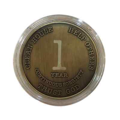 1 Year Alcoholics Anonymous Coin AA Medallion Bigger Design w/ Coin Capsule
