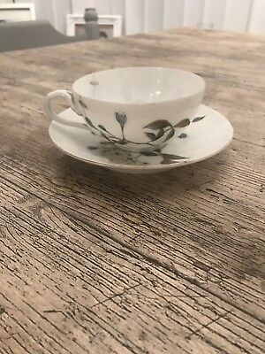Antique Meiji Japanese Hand Painted Porcelain Cup & Saucer