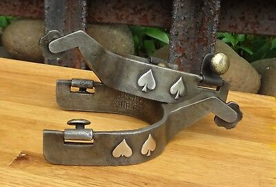 Vintage Set of Dusty Hines Goose Neck Spurs w/ Overlay