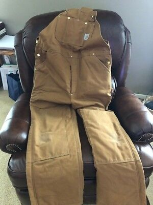 Carhartt BROWN Bibs Quilted Insulated Overalls Work Winter 40x32