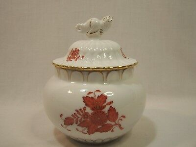 Herend Ginger Jar with Lizard Finial - Bouquet Rust