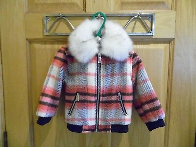 baby girls River island multi coloured checked coat age 6-9 month
