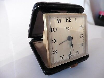 Vintage SWIZA 8 Day Travel Alarm Clock - Working ALARM but NOT TICKING FAULTY