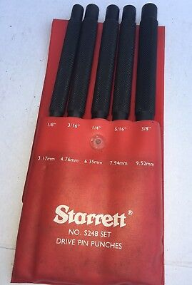 "Starrett No S248 Set Drive Pin Punches Set Of 5  & Red Sleeve Case 1/8"" To 3/8"""