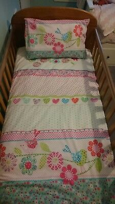 Cute Birds And Flower print Cot Bed Duvet Cover And Pillow Case - Dunelm