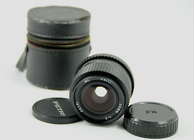 Pentax K / PK Mount Petri 28mm f2 Fast Wide Angle Prime Lens, Case & Covers