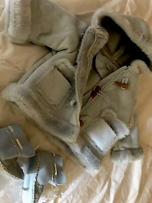 Baby Winter Jacket With Booties Size 6-9 Months Light Blue