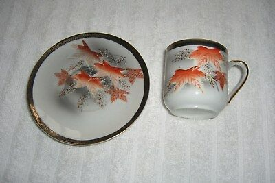 Hiroma japanese handpainted miniature cup and saucer