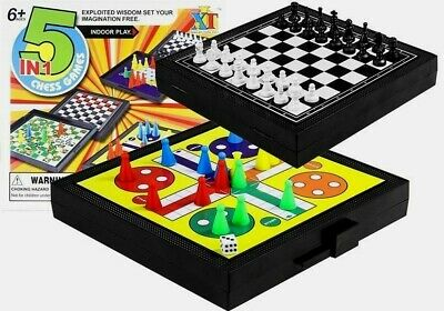 New 5 IN 1 Chess Games Set Ludo Draughts Snakes And Ladders UK stock