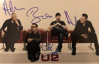 Picture Signed By U2 Bono Clayton Edge Mullins