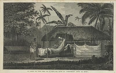 1785 James Cook's Engraving of Tahitian Chief Demonstrating Body Conservation