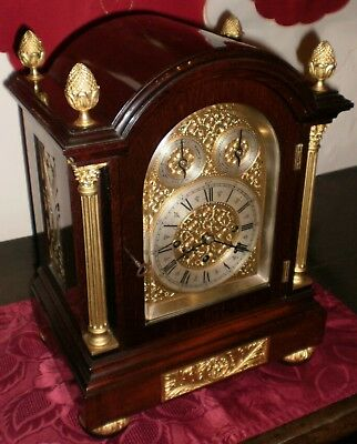 Triple Fusee English Late Victorian 5 Gong Bracket Clock Mahogany Case Working O
